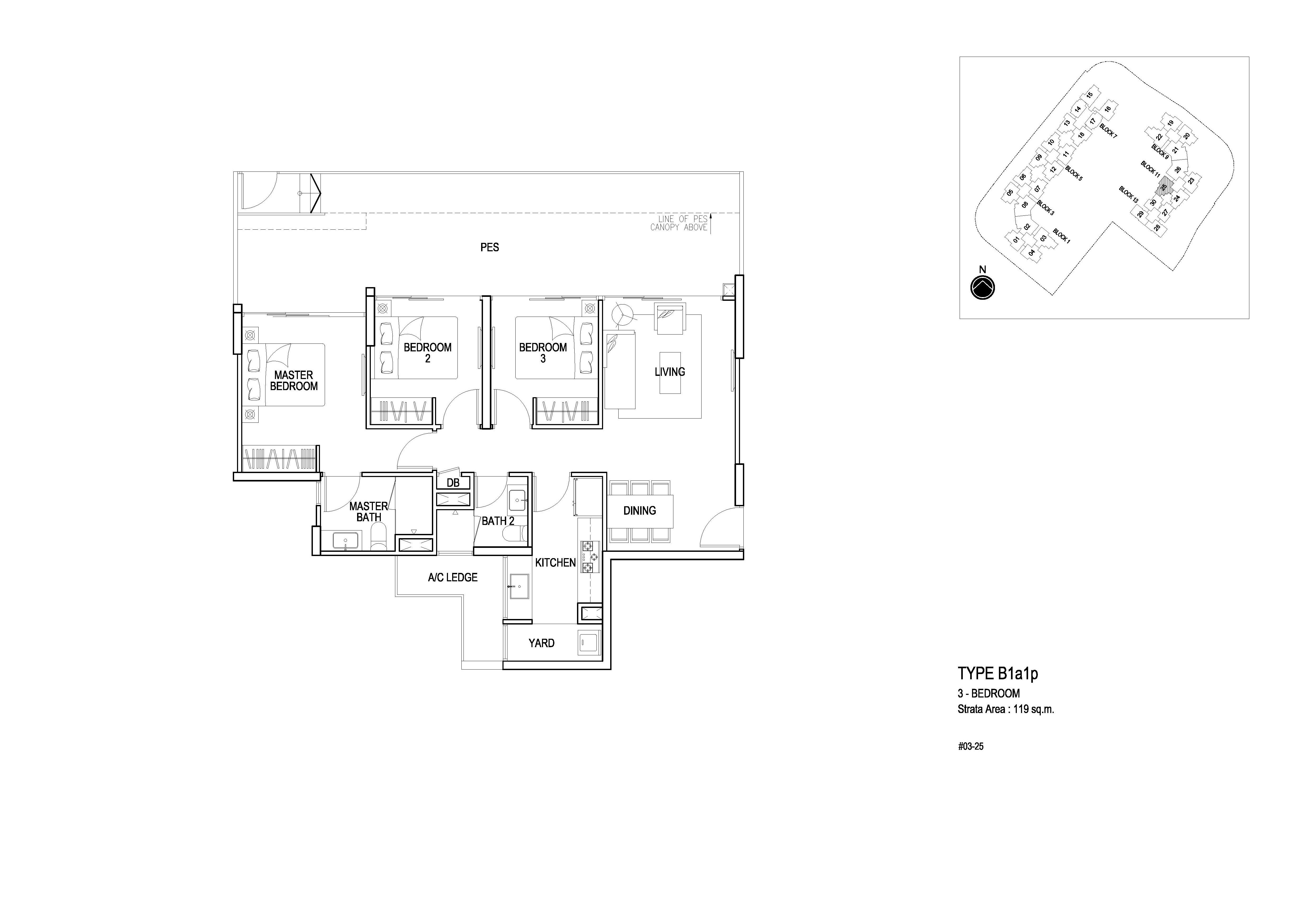 3 bedroom pes flo residence. Black Bedroom Furniture Sets. Home Design Ideas
